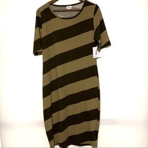 Lularoe Julia Dress Size Large Brown Stripe